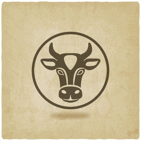 cow head old background Vector