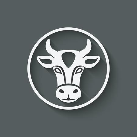 cow head symbol Illustration