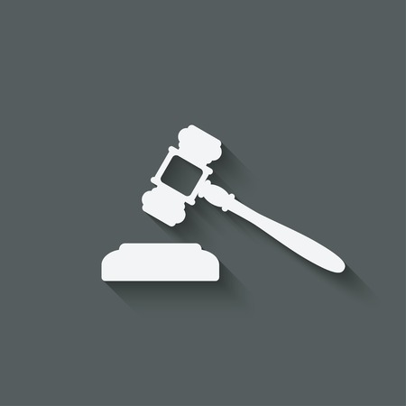 auctioneer: judge or auctioneer hammer - vector illustration.