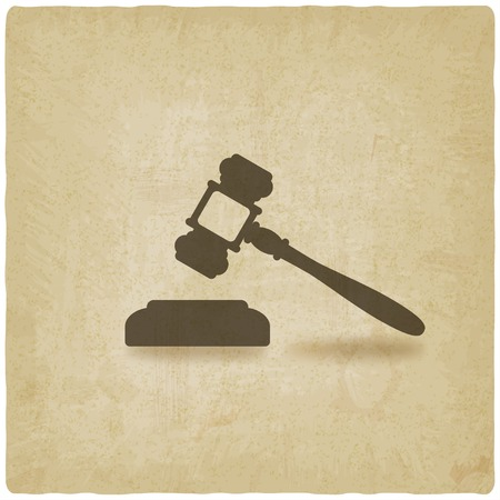 auctioneer: judge or auctioneer hammer old background - vector illustration. Illustration