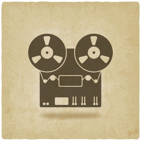 magnetofon: magnetofon stare tło - ilustracji wektorowych.