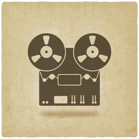 grabadora viejo fondo - ilustración vectorial.