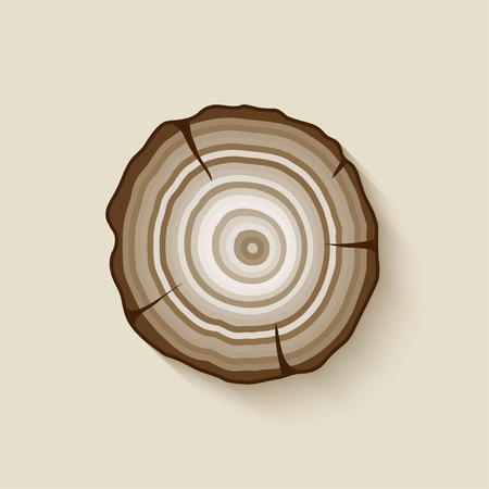 wood cross section: tree rings symbol - vector illustration.