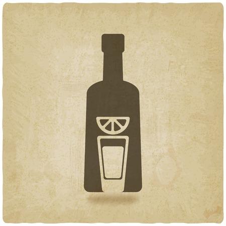 テキーラのボトルの古い背景 - ベクトル イラスト。