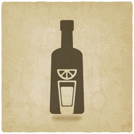 tequila bottle old background - vector illustration.