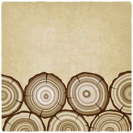 wood cross section: tree rings old background - vector illustration. Illustration