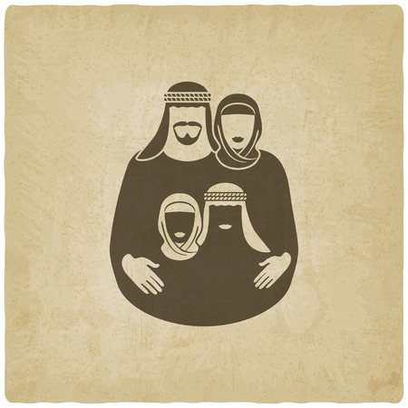 arabic: Muslim family. Parents with children