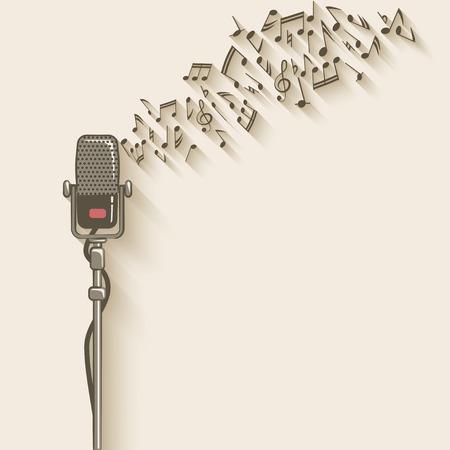 musical note: sfondo con il retro microfono
