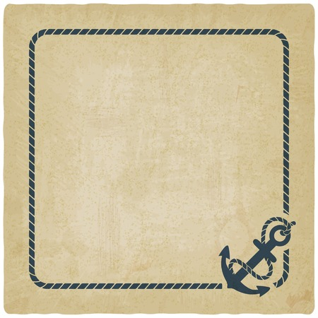 navy ship: marine background with anchor Illustration