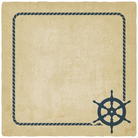steering wheel: marine background with steering wheel Illustration