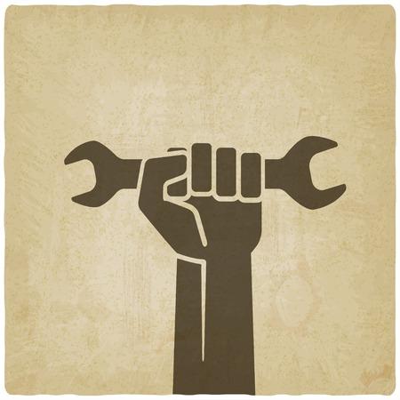 the working day: la mano del trabajador con el símbolo de la llave Vectores