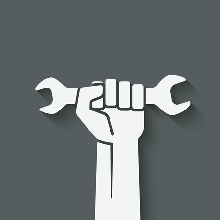 wrench: worker hand with wrench symbol