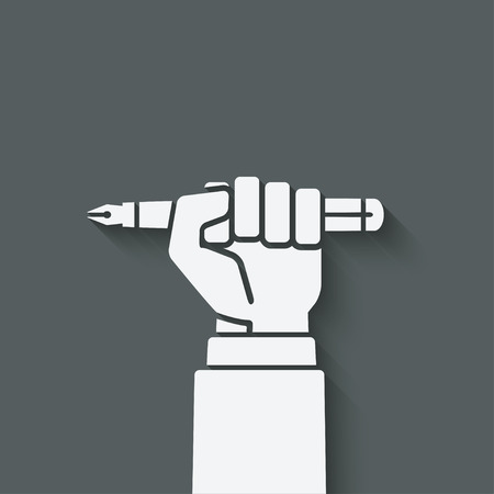 office worker hand with pen