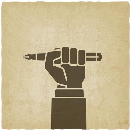 puños cerrados: mano oficinista con la pluma