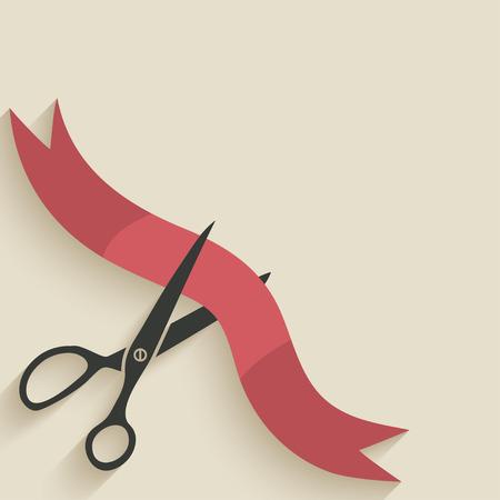 Scissors cut red ribbon Vectores