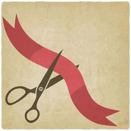 Scissors cut red ribbon Ilustrace