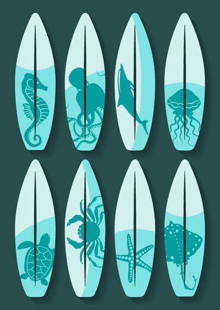 surfboards: surfboards set with blue sea creatures drawing