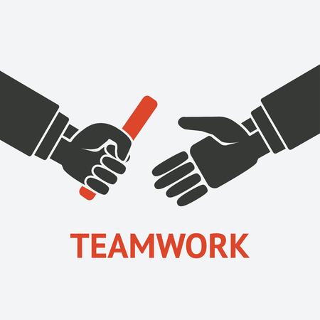 relay: retransmitir el símbolo de concepto del trabajo en equipo