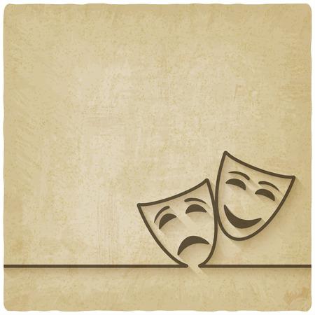 Comédie et la tragédie des masques vieux fond Banque d'images - 37879585