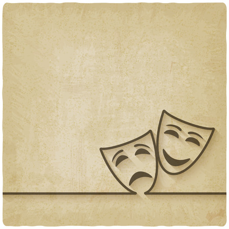 tragedy mask: comedy and tragedy masks old background
