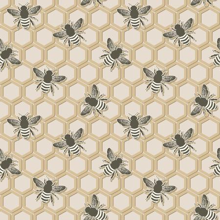 mead: bee seamless pattern Illustration