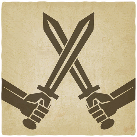 sword fight: crossed swords old background. vector illustration - eps 10