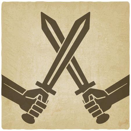 broadsword: crossed swords old background. vector illustration - eps 10