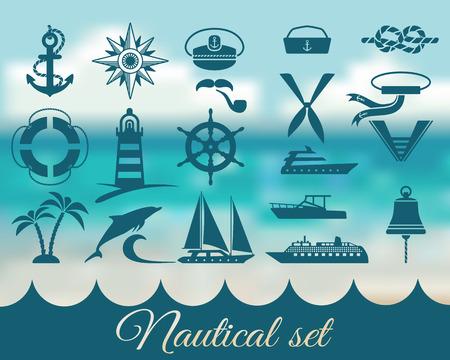 ship captain: nautical marine icons set - vector illustration. eps 8