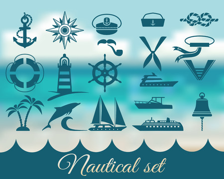 nautische marine icons set - vector illustratie. eps 8 Stock Illustratie