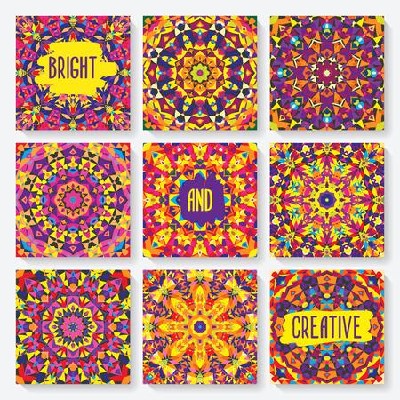 set of cards with kaleidoscope pattern. vector illustration - eps 8 일러스트