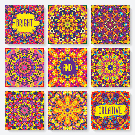 kaleidoscope: set of cards with kaleidoscope pattern. vector illustration - eps 8 Illustration