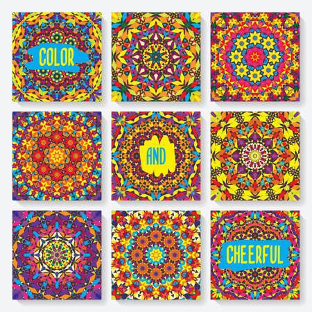 set of cards with kaleidoscope pattern. vector illustration - eps 8 Vector