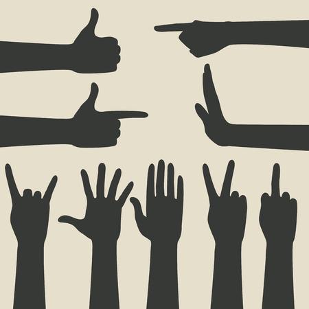 gestures: hand gestures icons set