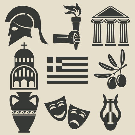 teatro antiguo: Grecia iconos conjunto de símbolos Vectores