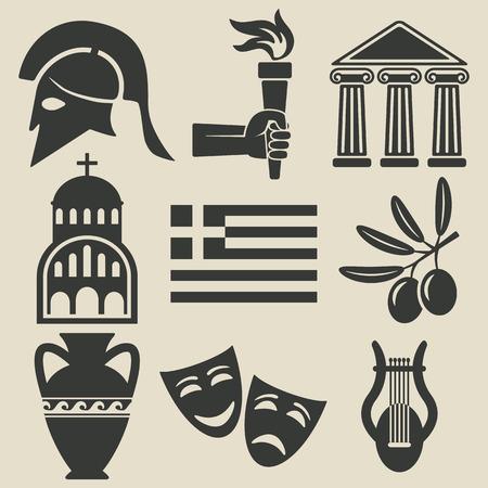 ancient greece: Greece symbol icons set