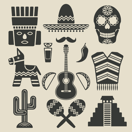 pinata: Mexico travel icons set Illustration