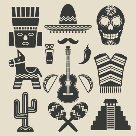 Mexico travel icons set Stock Illustratie