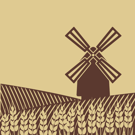 wheat field: windmill in wheat field Illustration