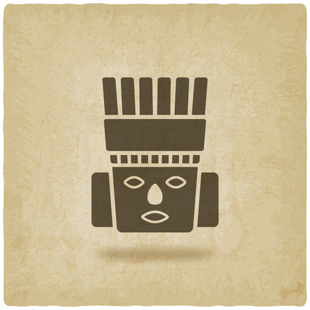 culture: Toltec Warrior head. Mexico ancient culture symbol Illustration