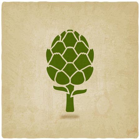 artichoke: artichoke symbol on old background