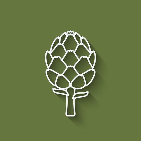 artichoke: artichoke symbol on green background - vector illustration.  Illustration