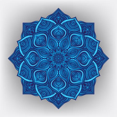 Blue floral round ornament - vector illustration.