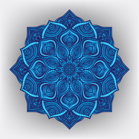 Blue floral round ornament - vector illustration.