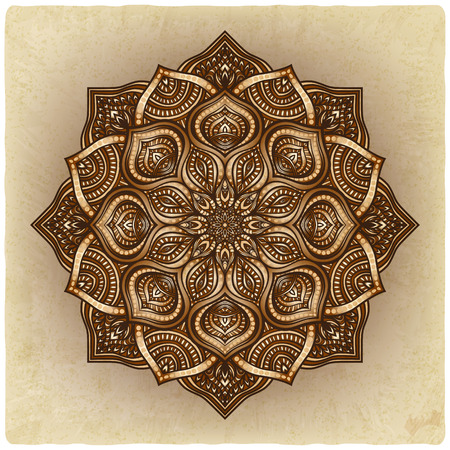 floral brown round ornament - vector illustration.