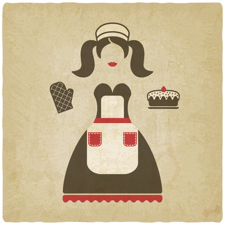 baking concept illustration. girl with pie old background - vector illustration. eps 10