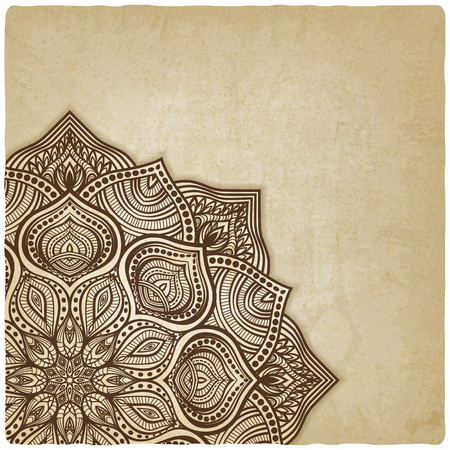 background brown: floral brown round ornament - vector illustration. eps 10