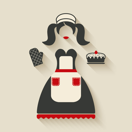 chefs: baking concept illustration. girl with pie - vector illustration. eps 10