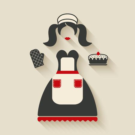 logos restaurantes: Ejemplo del concepto de la cocción. chica con pastel - ilustración vectorial. eps 10 Vectores