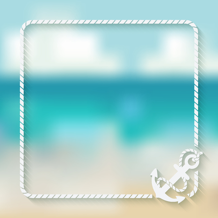 nautical card template with anchor - vector illustration.  Illustration