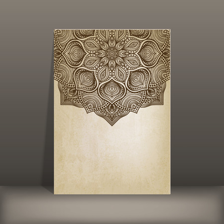 grunge paper card with circular pattern vector illustration. Illustration